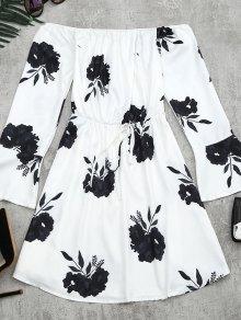 Vestido De Manga Larga Con Estampado Floral - Negro L
