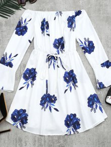 Floral Print Long Sleeve Dress - Blue L