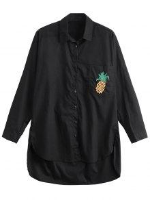 High Low Pineapple Embroidered Boyfriend Shirt - Black Xs
