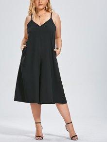 Capri Wide Leg Plus Size Jumpsuit - Black 2xl