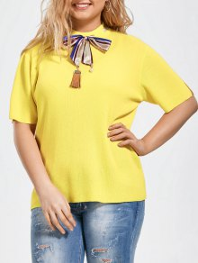 Bowknot Knitted Plus Size Top With Silk Scarf - Yellow 3xl