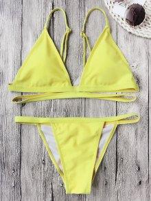 Conjunto De Bikini De Bandas Acolchadas V String - Amarillo Fluorescente M