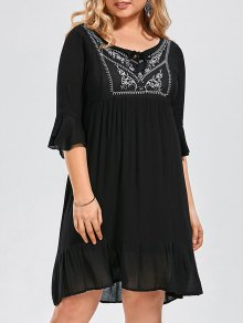 Ruffled Embroidered Plus Size Dress - Black 3xl
