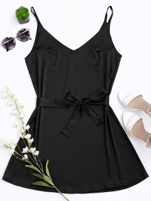Satin Cami Slip Dress With Choker Strap - Black S