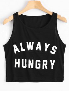 Graphic Always Hungry Cropped Tank Top - Black M