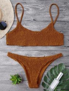 Smocked Bikini Top And Bottoms - Brown M