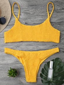 Smocked Bikini Top And Bottoms - Yellow S
