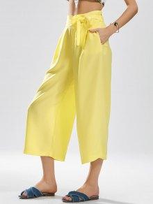 Noveno Pantalones De Pierna Amplia Bowknot - Amarillo L