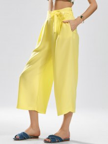 Ninth Bowknot Wide Leg Pants - Yellow M