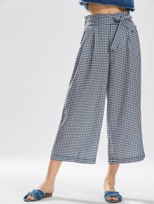 Checked Bowknot Wide Leg Pants - Checked L