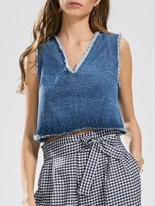 Cutoffs Lace Up Denim Tank Top - Denim Blue M