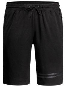 Seamless Zip Pocket Drawstring Shorts - Black 3xl