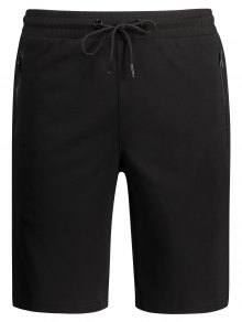 Zip Pocket Drawstring Sport Shorts - Black L