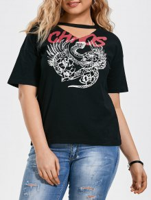 Plus Size Graphic Choker T-Shirt - Black Xl