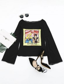 Boat Neck Flare Sleeve Figure Patched Tee - Black