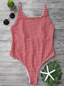 Open Back Gingham One Piece Swimsuit - Red And White S