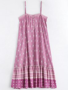 Printed Half Buttoned Ruffles Slip Dress - Multicolor L