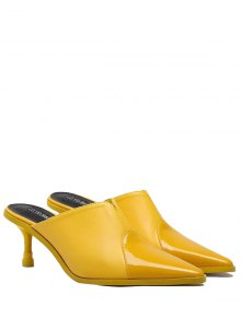Faux Leather Pointed Toe Slippers - Yellow 37