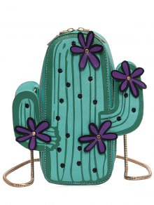 Funny Cactus Shaped Crossbody Bag - Green