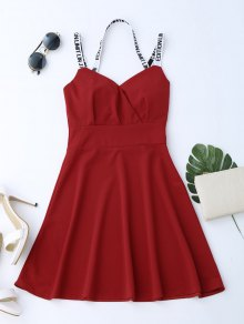 V Neck High Waist Flare Dress - Red