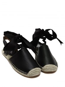 Tie Up Espadrilles Flat Heel Sandals - Black 40