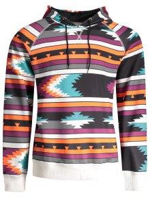 Raglan Sleeve Tribal Print Pullover Hoodie - Xl