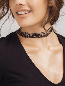 Tassel Vintage Chain Choker Necklace - Golden