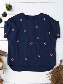 Loose Life Buoy Embroidered Top - Purplish Blue M
