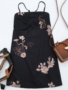 Floral Print Backless Cami Dress - Black S