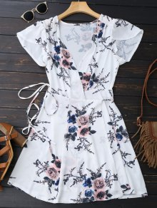 Floral Beach Wrap Mini Dress - White S