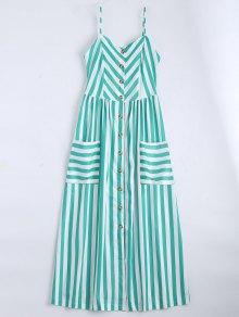 Button Up Striped Cami Dress - Lake Green S
