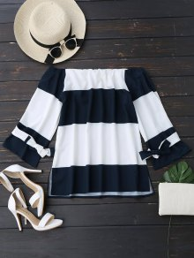 Two Tone Bowknot Off Shoulder Blouse - Blue And White L