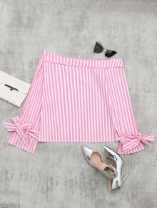 Off The Shoulder Long Sleeve Striped Blouse - Pink M