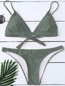 Padded Back Tied Bikini Swimwear - Army Green M