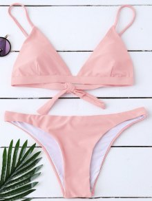 Padded Back Tied Bikini Swimwear - Pink M