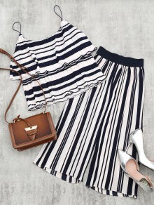 Tiered Flounce Striped Top And Pants Set - Blue Stripe S