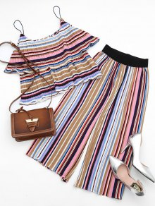 Tiered Flounce Striped Top And Pants Set - M