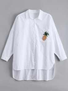 Chemise Brodée À Basse Basse Aux Ananas - Blanc L