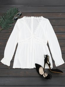 Plunging Neck Lace Panel Blouse - White L