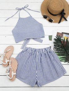 Halter Striped Two Piece Suit - Blue And White S