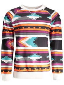 Raglan Sleeve Tribal Print Sweatshirt - M