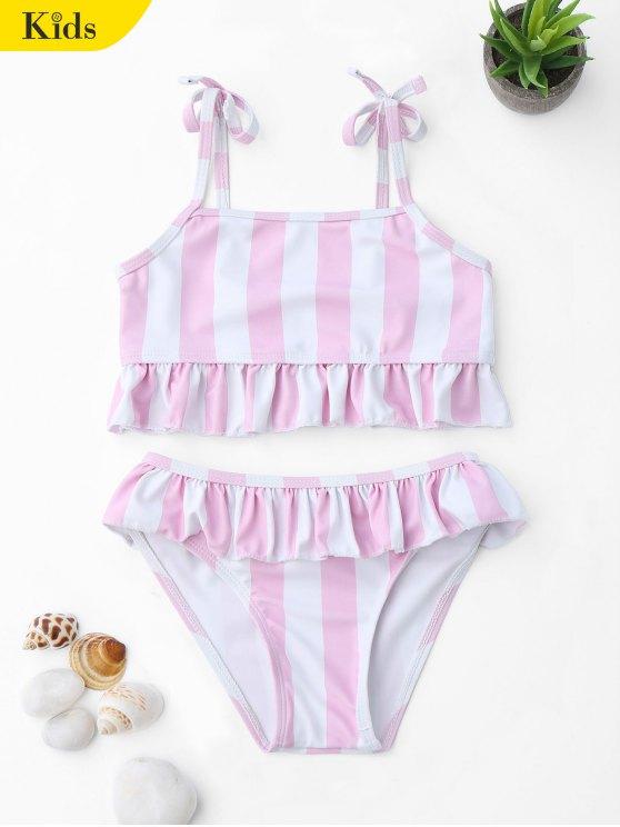 Ensemble de bikini à volants à rayures à rayures - Rose et Blanc 5T