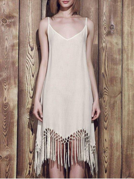 latest Fringed Cami Slip Dress - WHITE S