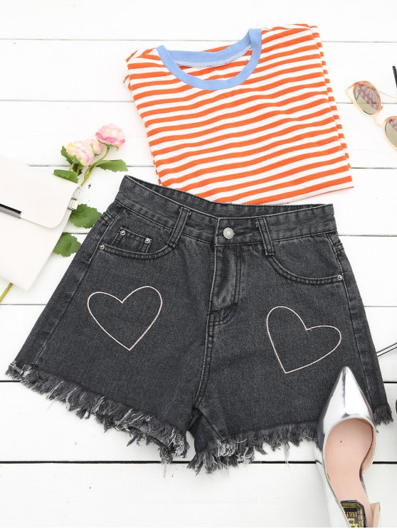 Cufles Corazón bordado Denim Shorts - Negro M