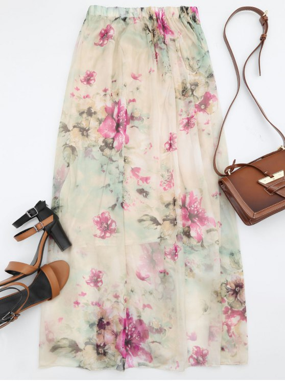 ladies Floral Print High Waist Maxi Skirt - FLORAL S