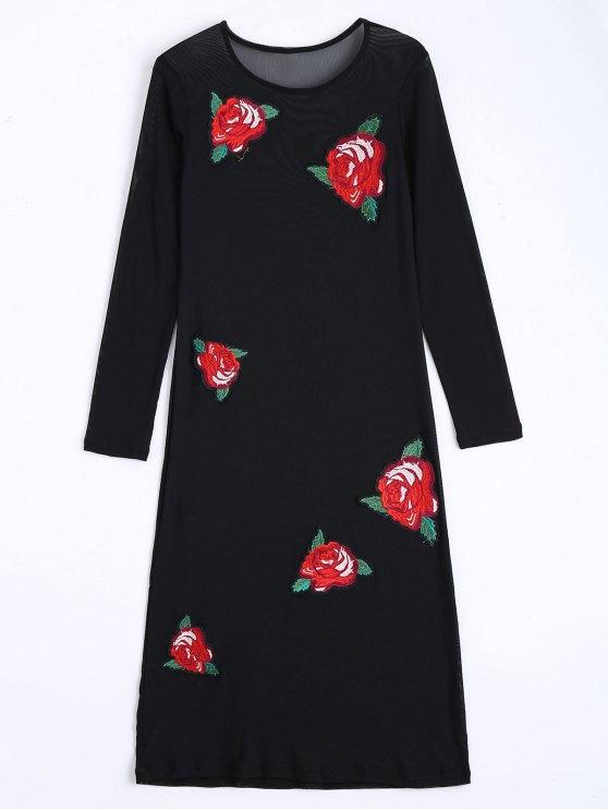 Floral Applique Sheer Mesh Club Dress - Noir S