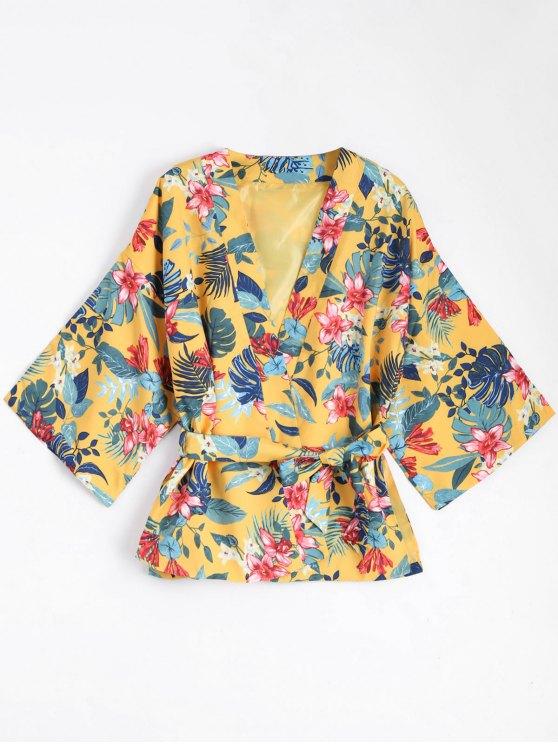unique Belted Floral Kimono Blouse Coat - YELLOW S