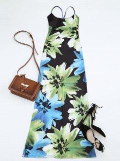 Floral Print Open Back Slit Cami Dress - Floral L