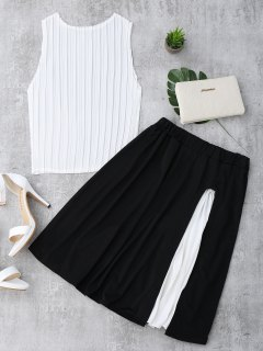 Pleated Top And Slit Contrast Skirt Set - White And Black