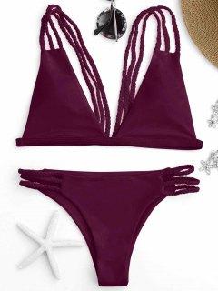 Low Cut Strappy Bralette Bikini - Burgundy M